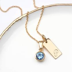 Personalised 18ct Gold Birthstone Initial Necklace, Gold