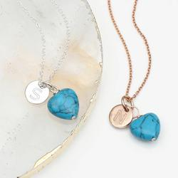 Rose Gold Or Sterling Silver And Turquoise Necklace, Silver