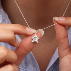Personalised Sterling Silver Birthstone Star Necklace, Silver