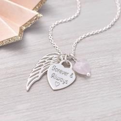 Personalised Silver Heart And Angel Wing Necklace, Silver