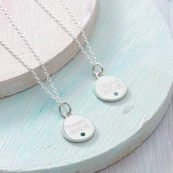 Personalised Sterling Silver Birthstone Disc Necklace, Silver