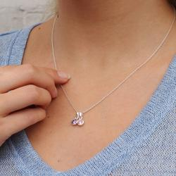 Sterling Silver Family Birthstone Necklace, Silver