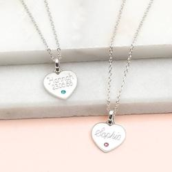 Personalised Sterling Silver Birthstone Heart Necklace, Silver