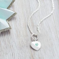 Sterling Silver Birthstone Heart Charm Necklace, Silver