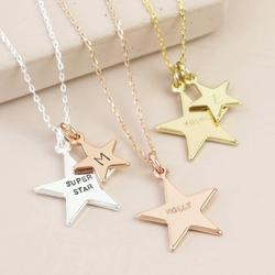 Personalised Double Star Charm Necklace, Silver/Gold/Rose Gold
