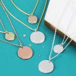 Personalised Layered Double Chain Disc Charm Necklace, Silver/Gold/Rose Gold