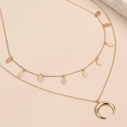 Rose Gold Double Layer Horn Necklace, Gold