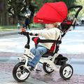 MOPAI 2-in-1 Red Ride On Tricycle Trike Stroller, Baby Trike with Foldable Pedals with 2 Brakes and Front Wheel Clutch for Safe, Detachable Canopy Pushing Handle Ride-on Trike with Cup Holder