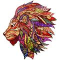 Wooden Jigsaw Puzzle with 300 Colorful Animal Pieces for Adults and Children (Lion)