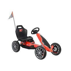 Lean Toys Ferrari Children's Gokart Red Pedal Vehicle Go-Kart Racing Kart Pedal Vehicle EVA Wheels