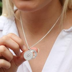 Personalised Silver Initial Swing Locket Necklace, Silver