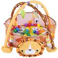 Baby Play mat, 3 in 1 Baby Gym Baby Activity Mat Baby Activity Gym with Baby Play Mat 30 Colorful Balls 4 Linkable Hanging Toys Safety Guard Mesh for Baby 3~12 Months, Lion Pattern,Width 27.56in(lion)
