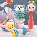 KOUQI Newborn Baby Rattles Puzzle 0 To 6 Months Old Rattle rattle 5-piece set [gift box with free battery] + tumbler