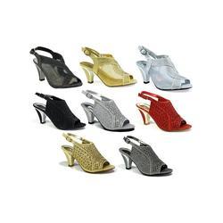 Women's Fashion Diamante Block Heel Strappy Ankle Sandals: Dress - Black/7
