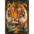 GUARDUU Latch Hook Rug Kit Unfinished Embroidery Kit with Colorful Printed Canvas, DIY Crochet Yarn Kits Easy To Finish, 33.5X24.8 Inch, Tiger
