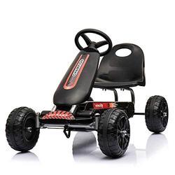 Regenboghorn Go Kart 4 Wheel Pedal Outdoor Racer with Adjustable Seat Brake Pedal Car for Boys Girls (Black)
