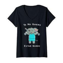 Donna Ya No Quiero Estar Gordo Elephant Esercizio Fitness Salute Maglietta con Collo a V