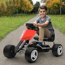 4 Wheels Kids Pedal Car, Pedal Go Kart, Racing Go Kart, Ride On Car Toy for Children 3-8 Age, Go Cart Games for Girls and Boys Indoor Outdoor (Red)