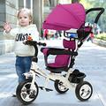 MOPAI 2-in-1 Purple Ride On Tricycle Trike Stroller, Baby Trike with Foldable Pedals with 2 Brakes and Front Wheel Clutch for Safe, Detachable Canopy Pushing Handle Ride-on Trike