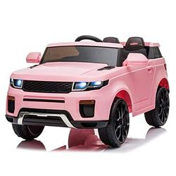 Kids Electric Ride on Car Off Road Sport Style Off Roader 3 Speeds 4 Wheels Kids Electric Car 12V Kids Electric Ride on Car 2.4GHZ Remote Control LED Lights,Pink