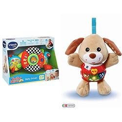 VTech Toot Toot Drivers Baby Driver, Interactive Pushchair Toy & 502303 Little Singing Puppy Educational Baby, Clip On Cot, Pushchair and Pram, Soothing Soft Interactive Toy, for 3, 6, 12 Months