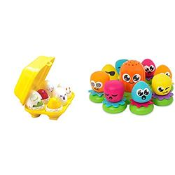 Toomies TOMY Hide and Squeak Eggs, Educational Shape Sorter Baby, Toddler & Kids Toy & TOMY Octopals Number Sorting Baby Bath Toy