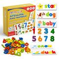 Words Spelling Games for Kids,Matching Alphabet Puzzles Games Toys with 28 Double-Sided Word Pattern Cognition Cards and 52 Wooden Letter Blocks,Educational Gift for 2-6 Years Old Kids (wineberry)