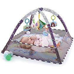 Large Baby Play Mat Activity Gym, Safe Infant Activity Gym Playmat with Hanging Toys & 18 Ocean Balls, Baby Kick and Play Mat, Baby Fitness Mat with Protective Net for Boys & Girls, Machine Washable