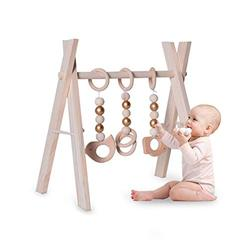 Thrivinger Wooden Baby Gym with 3 Wooden Baby Teething Toys Foldable Baby Play Gym Frame Activity Gym Hanging Bar, Baby Fitness Frame Newborn Gift Baby Girl and Boy Gym