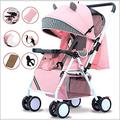 Baby Pushchair, Buggy, Lightweight Baby Stroller Sit Recline Baby Carriage with Meal Tray,Mosquito Net,Wrist Band for Newborn Pram Travel System,Pink (Color : Pink)