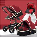 Baby Pushchair, Buggy, Baby Stroller 3-in-1-convertible Pram Compact Single Stroller, Toddler Kids Seat Stroller Luxury Stroller with Cup Holder (Color : Red)