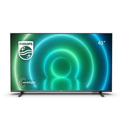 Philips 43PUS7906 / 12 43 inch LED Android TV, 4K Smart TV with Ambilight, HDR image, Dolby Vision and Atmos sound, compatible with Google Assistance and Alexa, black with slim feet