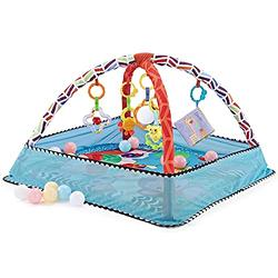 Baby Play Gym, with 5 Hanging Toys and 18 Ocean Balls - Safe Baby Kick and Play Mat, Infant Activity Gym Ball Pit, Activity Gym Mat for Newborns