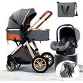 Lightweight Stroller Stylish Pushchair, Baby Buggy, Baby Stroller, 3-in-1 Convertible Bassinet Sleeping Strollers, Newborn Pushchair with Stroller Organizer& Rain Cover,Portable Shock Absorption Strol