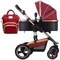 Lightweight Bassinet Stroller for Newborn, Foldable Anti-Shock Baby Stroller with Stroller Organizer, Convertible Bassinet Pram for Infant & Toddler (Color : Red)