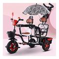 GST trikes Kids bike Brisk Double Children's Tricycle Twin Trolley With 3 Wheels Pedal Bicycle For 1-6 Years Old Two-seater Cart Removable Push Handle (Color : Black)