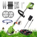 Grass Trimmer Electric Cordless String Trimmer Lawn Mower Edger 21V Battery Powered Weed Grass Trimmer Brush Cutter Kit With Lithium Battery, Fast Charger and Three Kinds Spare Blades,green