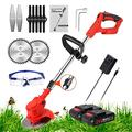 Grass Trimmer Electric Cordless String Trimmer Lawn Mower Edger 21V Battery Powered Weed Grass Trimmer Brush Cutter Kit With Lithium Battery, Fast Charger and Three Kinds Spare Blades,red