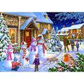 Adult wooden jigsaw puzzle 1500 pieces, family education game theme jigsaw-Christmas snowman-Jigsaw puzzle games for families and children, large jigsaw puzzles, educational gifts, home decoration