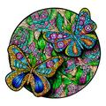 Wooden Jigsaw Puzzle with 300 Colorful Animal Pieces for Adults and Kids (Butterfly)