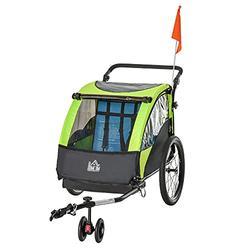 HOMCOM Bike Trailer 2 In1 Child Kids Stroller 2 Seater Carrier with Adjustable Handlebar Green