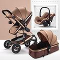 Baby Pushchair Baby Stroller 3 in 1 Carriage Foldable Compact Baby Carriage Pushchair Springs High View Pram Stroller with Baby Basket and Cup Holder,for Baby Girl,Male Baby (Color : Brown)