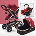Baby Pushchair Baby Stroller 3 in 1 Carriage Foldable Compact Baby Carriage Pushchair Springs High View Pram Stroller with Baby Basket and Cup Holder,for Baby Girl,Male Baby (Color : Red)