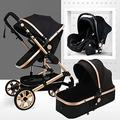 Baby Pushchair Baby Stroller 3 in 1 Carriage Foldable Compact Baby Carriage Pushchair Springs High View Pram Stroller with Baby Basket and Cup Holder,for Baby Girl,Male Baby (Color : Black)