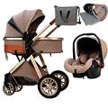 Baby Pushchair 3 in 1 Baby Stroller Carriage, Foldable Luxury Pushchair Stroller Shock Absorption Springs, High View Pram Pram Stroller with Blanket, Mommy Bag and Rain Cover (Color : Khaki)