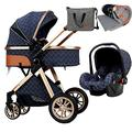 Baby Pushchair 3 in 1 Baby Stroller Carriage, Foldable Luxury Pushchair Stroller Shock Absorption Springs, High View Pram Pram Stroller with Blanket, Mommy Bag and Rain Cover (Color : Blue)