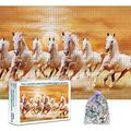 CFVHB Jigsaw Puzzles 1000 Pieces Wooden Puzzle Adult Diy Toys Decompression Puzzle Game Toys Children Gifts /Beautiful White Horses /75*50Cm
