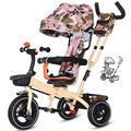 JIEJIE trikes Tricycle Trike Children's Tricycle, Kids' Trikes Bicycle 1-3-6 Year Old Trolley Bicycle Awning Reversible Folding Pedal Multi-function (Color : Yellow) ( Color : Camouflage )