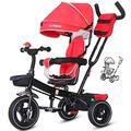JIEJIE trikes Tricycle Trike Children's Tricycle, Kids' Trikes Bicycle 1-3-6 Year Old Trolley Bicycle Awning Reversible Folding Pedal Multi-function (Color : Yellow) ( Color : Red )