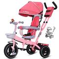 JIEJIE trikes Tricycle Trike Children's Tricycle, Kids' Trikes Bicycle Trolley Bicycle Awning Reversible Folding Pedal Multi-function 1-3-6 Year Old (Color : Red) ( Color : Pink )